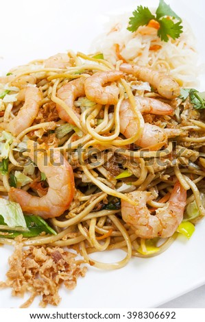 Shrimp with noodles Chinese style - focus shoot