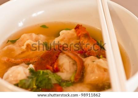 shrimp Wonton Soup - stock photo