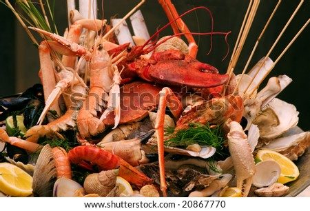 Shrimps and lobsters decorated - stock photo