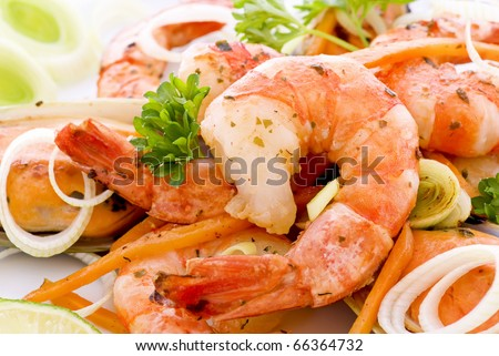 Shrimps and Mussels - stock photo