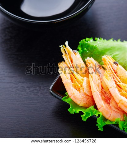 Shrimps and salad on a plate