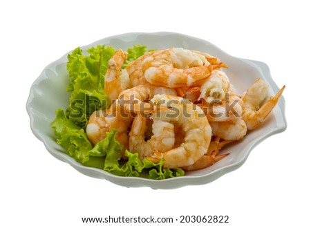 Shrimps cocktail with salad leaves