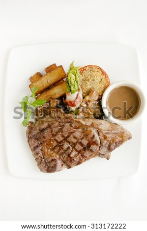 Shrimps fried and Pork meat grilled with fresh vegetable salad - stock photo