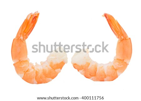 Shrimps isolated on white background concept - stock photo