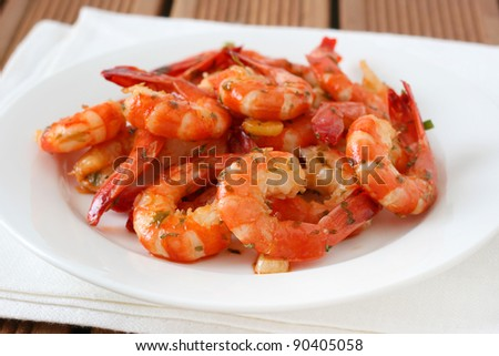 shrimps on the white plate - stock photo
