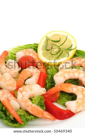 Shrimps on w ahite plate