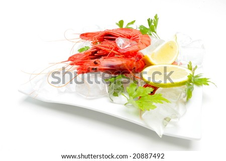 shrimps with lemon on ice