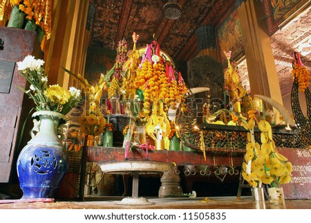 Shrine in buddhist wat, Vientiane, Laos - stock photo