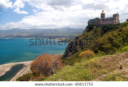 Shrine of Our Lady and Tindari gulf with famous sand scythe, Sicily, Italy