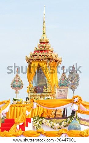 Shrine with Buddha relic on display during the celebration of the 84th birthday of H.M. Bhumipol Adulyadej