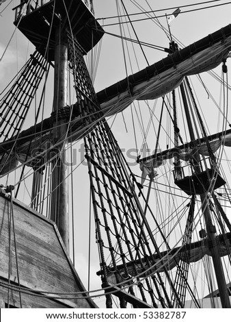 Shrouds and masts on a 17th Century Spanish Armada galleon berthed at the Grand Harbour in Malta - stock photo