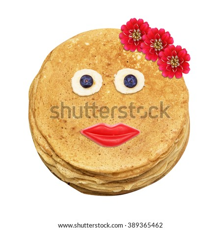 Shrovetide, Maslenitsa, fishnet pancakes, flapjack,slapjack, face, person with chocolate praline with glaze, banana, blueberry and flowers isolated on the white - stock photo