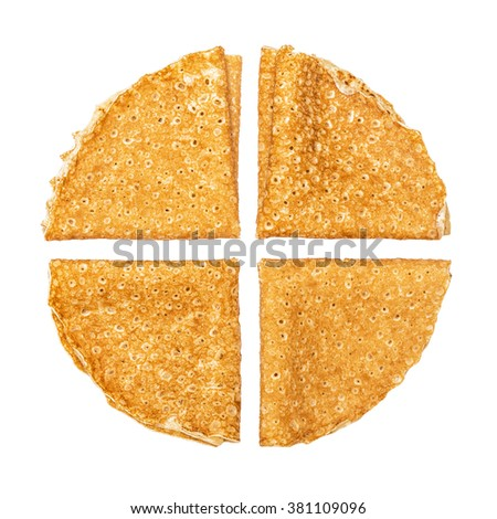 Shrovetide, Maslenitsa, fishnet pancakes, flapjack,slapjack,  isolated on the white - stock photo