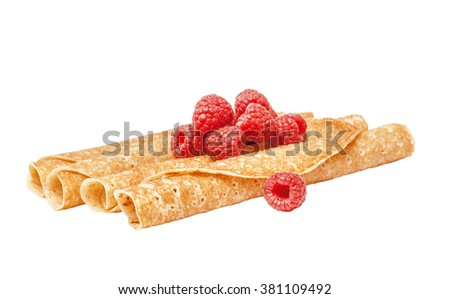 Shrovetide, Maslenitsa, tube fishnet pancakes, flapjack,slapjack, with raspberry isolated on the white - stock photo