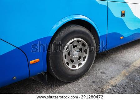 shuttle wheel on the asphalt road - stock photo