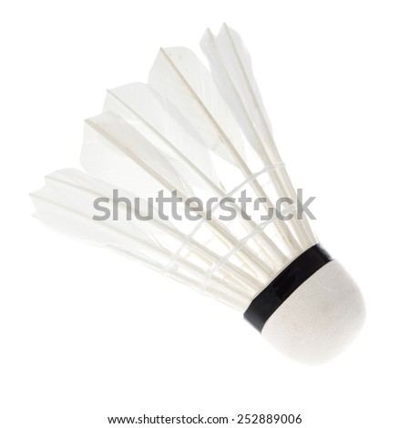 Shuttlecock isolated on white - stock photo