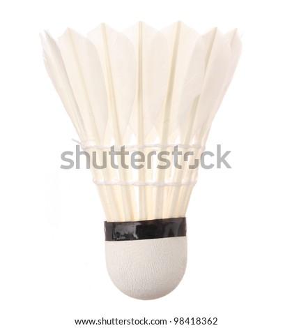 Shuttlecock isolated on white - stock photo