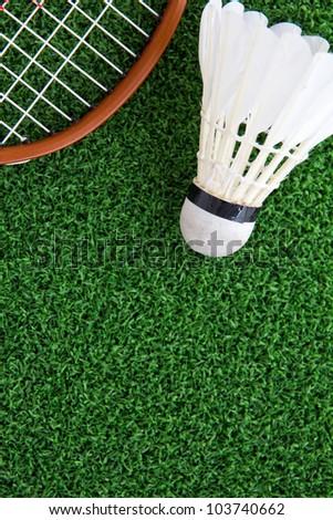 shuttlecock on court ,sport concept - stock photo