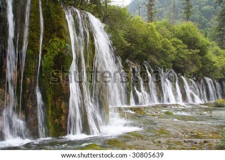 Shuzheng WaterFall in JiuZhaiGou Scenic Area, Sichuan Province, China - stock photo