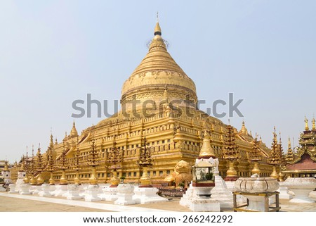 Shwe zi gon pagoda or Paya Temple in Nyaung-U Bagan, Myanmam, Burma - stock photo