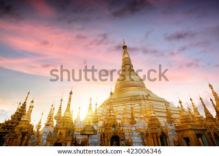 Shwedagon pagoda at sunset, Great Dagon Pagoda and the Golden Pagoda, Yangon Myanmar