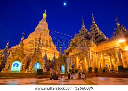 Shwedagon Paya at night, Yangoon, Myanmar. - stock photo