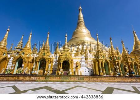 Shwedagon Paya is the most sacred golden buddhist pagoda in Myanmar. Yangon, Myanmar - stock photo