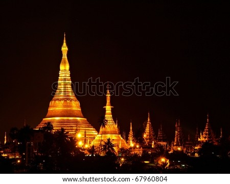 Shwedagon Paya Temple shining at night in Yangon, Myanmar (Burma) Asia