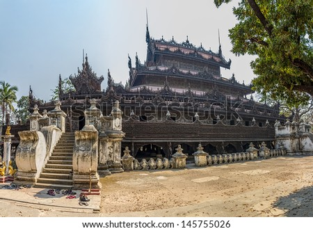 Shwenandaw Kyaung Temple or Golden Palace Monastery in Mandalay, Myanmar. - stock photo