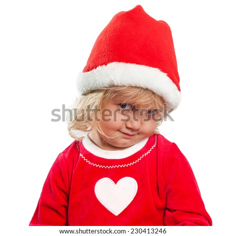shy girl in Santa Claus clothing isolated on white background - stock photo