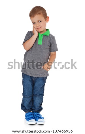 Shy little boy. All on white background.