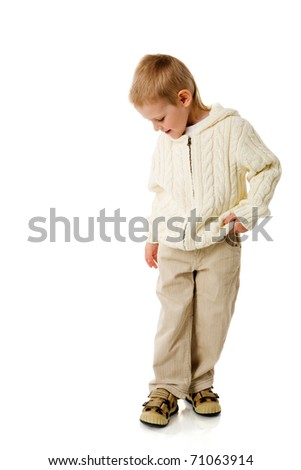 Shy Three years smiling boy isolated on white - stock photo