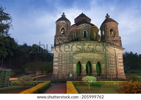 Shyamroy Temple, Bishnupur , India - made of terracotta (baked clay) - world famous tourist spot. - stock photo
