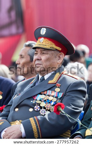 SHYMKENT city, KAZAKHSTAN MAY 9, 2015: Veterans of War. Victory Day. The memory of soldiers of the Great Patriotic War. Victory Day celebration in the city of Shymkent, Kazakhstan May 9, 2015