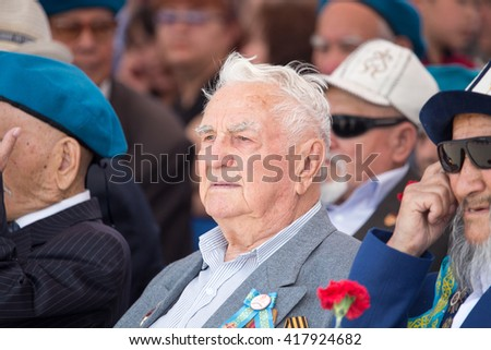SHYMKENT city, KAZAKHSTAN MAY 8, 2016: Veterans of War. Victory Day. The memory of soldiers of the Great Patriotic War. Victory Day celebration in the city of Shymkent, Kazakhstan May 8, 2016