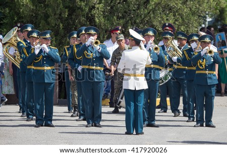 Shymkent, KAZAKHSTAN May 8, 2016: Soldiers of the Kazakh Army . Victory Day celebration in the city of Shymkent, Kazakhstan, May 8, 2016