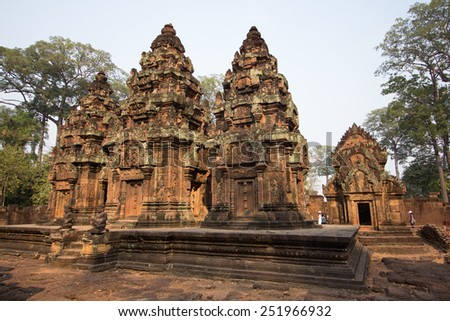 SIAM REAP, CAMBODIA - February 7,2015 - Banteay Srei - a 10th century Hindu temple dedicated to Shiva. The temple built in red sandstone was rediscovered 1814 in the jungle of the Angkor area