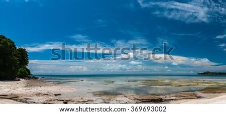 Siamil island Sipadan, Borneo, Malaysia Tropical turquoise paradise white sandy beach panorama - stock photo