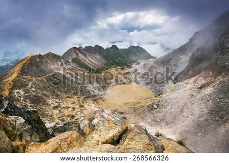 Sibayak volcano near Berastagi in northern Sumatra, Indonesia - stock photo