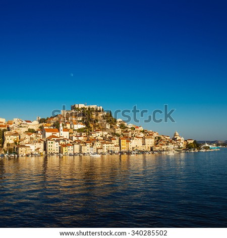 Sibenik is historic town in Croatia, located in central Dalmatia where river Krka flows into Adriatic Sea. Sibenik is political, transport, industrial and tourist center of Sibenik Knin County - stock photo