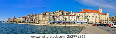 Sibenik waterfront architecture panoramic view, Dalmatia, Croatia - stock photo