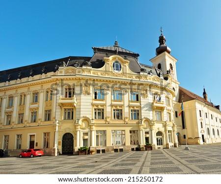 sibiu city hall romania architecture general view - stock photo