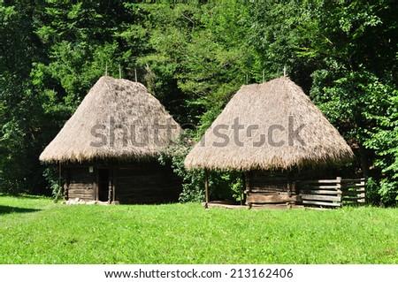 sibiu romania ethnic museum wood house architecture - stock photo