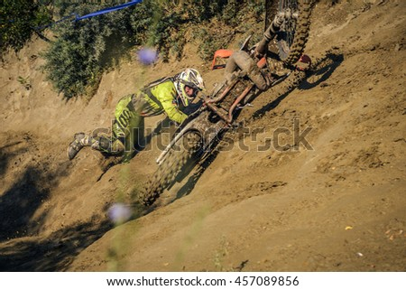 SIBIU, ROMANIA - JULY 16: A competitor in Red Bull ROMANIACS Hard Enduro Rally the hardest enduro rally in the world. July 12-16, 2016