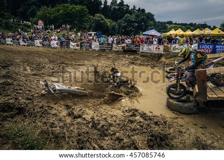 SIBIU, ROMANIA - JULY 16: A competitor in Red Bull ROMANIACS Hard Enduro Rally with a KTM motorcycle. The hardest enduro rally in the world. July 12-16,