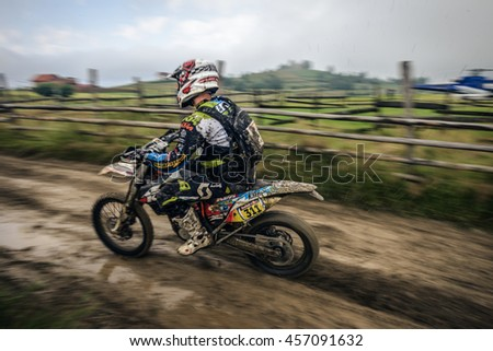 SIBIU, ROMANIA, JULY 16, 2016: A competitor with a KTM motorcycle at Red Bull ROMANIACS Hard Enduro Rally the hardest enduro rally in the world. July 12-16, 2016 in Sibiu, Romania.