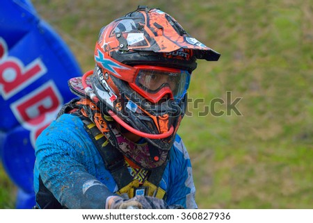 SIBIU, ROMANIA - JULY 18: Unknown competing in Red Bull ROMANIACS Hard Enduro Rally with a KTM 300  motorcycle. The hardest enduro rally in the world.