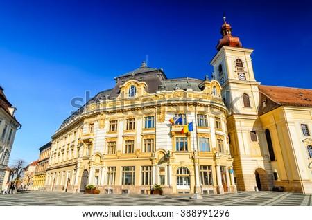 Sibiu, Romania. Large Square with City Hall, majestic attraction of Transylvania medieval city. - stock photo