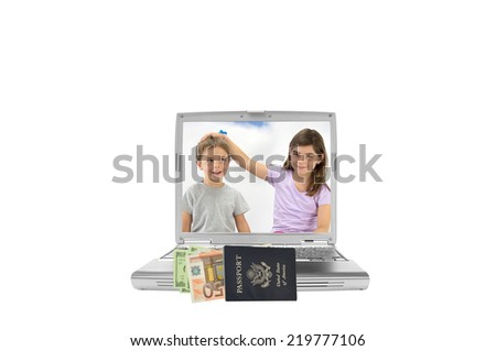 Siblings (boy looking up smirking and girl looking at camera hand on head of brother) on laptop screen with US passport filled with fifty euro currency and one hundred dollar bills isolated on white - stock photo