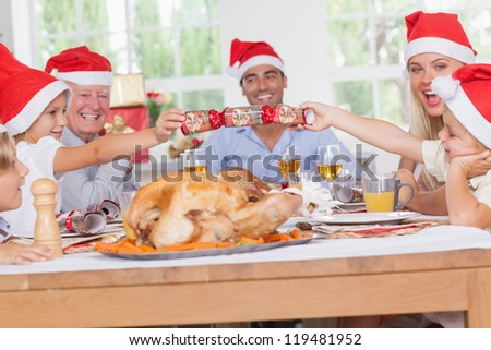 Siblings pulling a christmas cracker at christmas dinner - stock photo